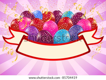 Colorful celebration banner with balloons and confetti and a copy space in the middle - stock vector