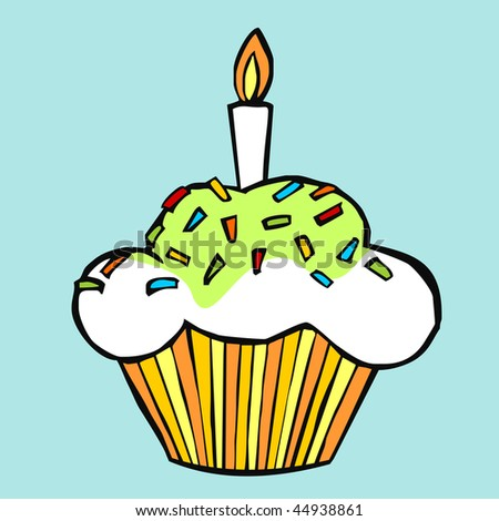 Colorful celebration muffin on light blue background