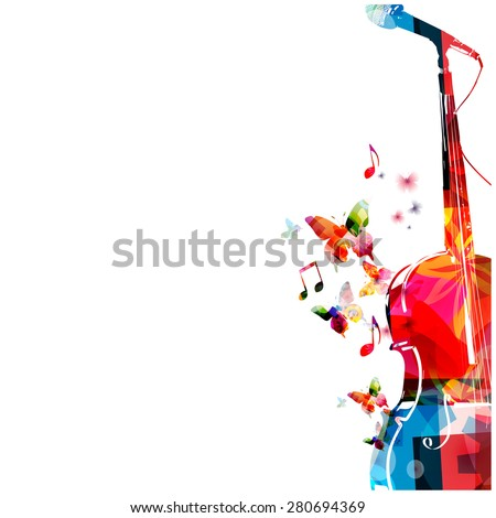 Colorful cello with microphone design - stock vector
