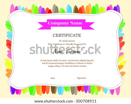 Colorful certificate template additional ribbon design stock colorful certificate template with additional and ribbon design elementsflowers design border yadclub Image collections