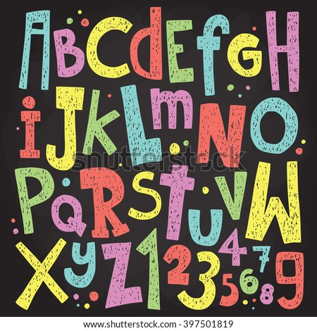 Colorful chalk board letters and numbers. Vintage grunge alphabet vector set