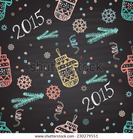 Colorful chalk painted seamless pattern with snowflakes, mittens. New Year theme. Card design. - stock vector