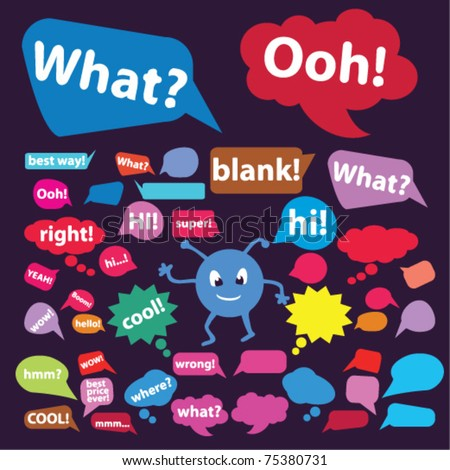 colorful chat, idea, speech, thought signs, bubbles, icons, vector illustrations - stock vector
