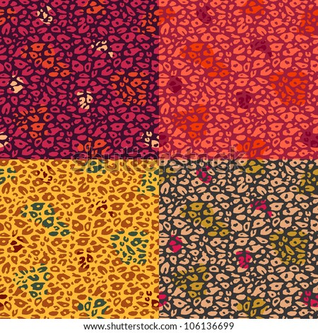 Colorful Cheetah Print Seamless Pattern Set. Vector Animal Background - stock vector