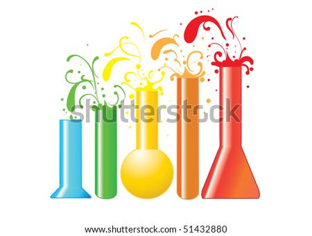 colorful chemical or medical flasks with liquid isolated on white background (AI8 with gradient)