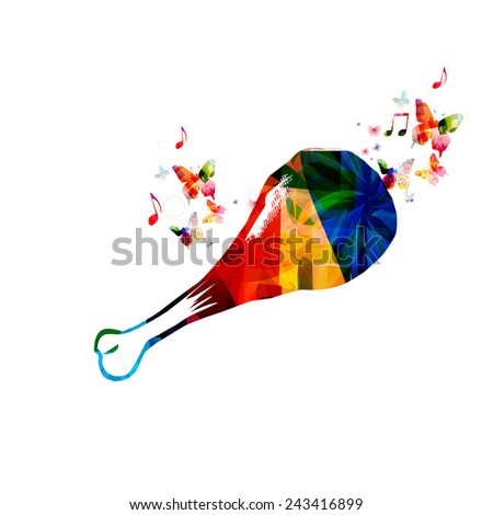 Colorful chicken drumstick design with butterflies - stock vector