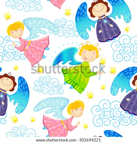 Colorful childlike seamless pattern with fairies and stars on white background. Vector pattern - stock vector