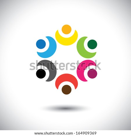 colorful children playing in circle - school concept vector. This abstract graphic represents diversity & unity, social community network, kindergarten kids, employee teams in meeting, etc - stock vector