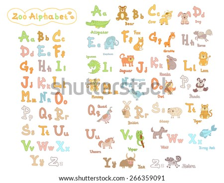 Colorful children's alphabet with animals - stock vector