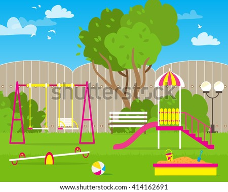 Colorful Children's playground with Swings, slide, sandbox, bench, teeter board. Kids playground. School Children's park. - stock vector