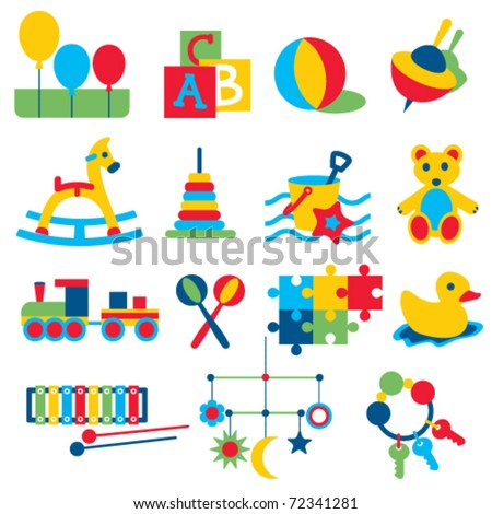 Colorful children toys icons - stock vector