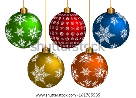 Colorful Chrismas Ball on white background. Vector Format - stock vector