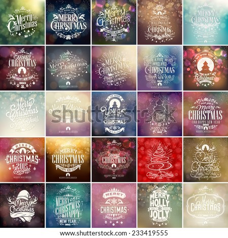 Colorful Christmas And New Year Typographical Background Set With Hand Drawn Christmas Ornaments - stock vector