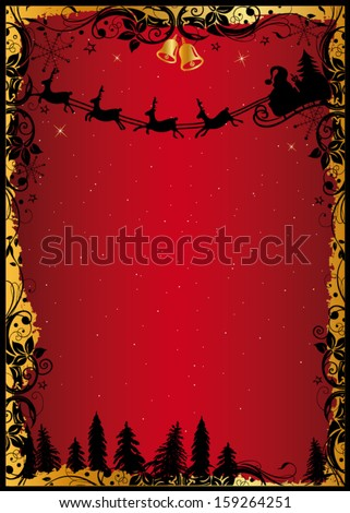 Colorful christmas background with santa claus and reindeer