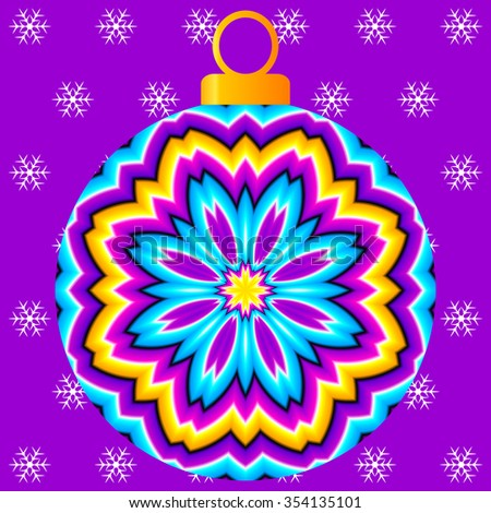 Colorful christmas ball  with  flower  on a violet background (optical expansion illusion)