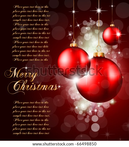 Colorful Christmas Baubles Background for Elegant Invitation Flyer or Brochure - stock vector