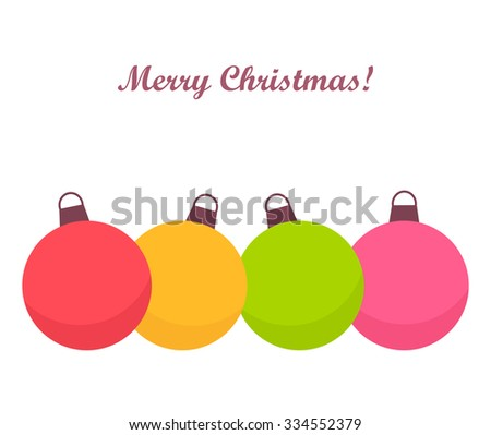 Colorful Christmas baubles card. Vector illustration - stock vector