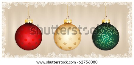 Colorful Christmas Baubles on striped background. - stock vector