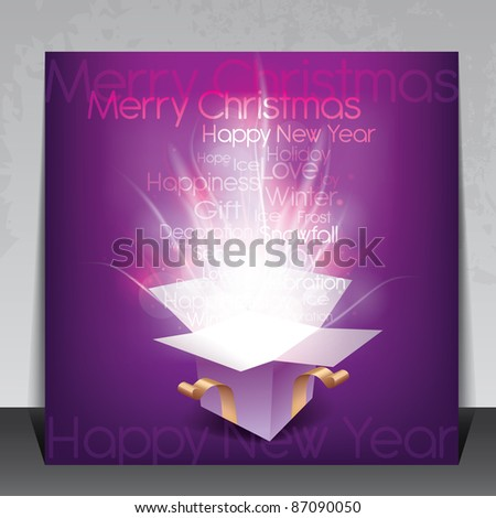 Colorful Christmas card with magic gift box and seasonal words - stock vector