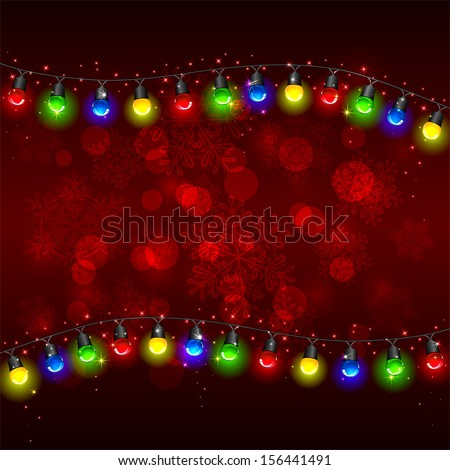 Colorful Christmas light on red background with stars, illustration. - stock vector