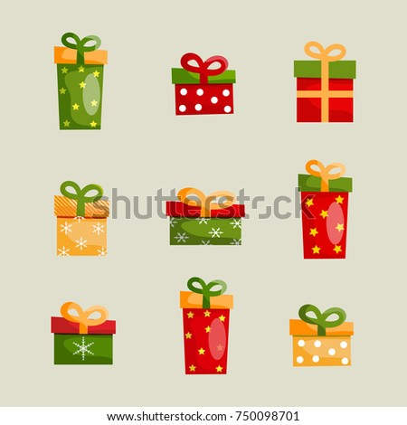 Christmas gift stock images royalty free images vectors colorful christmas present boxes set of different shapes with ribbon bows on light background isolated vector negle Images