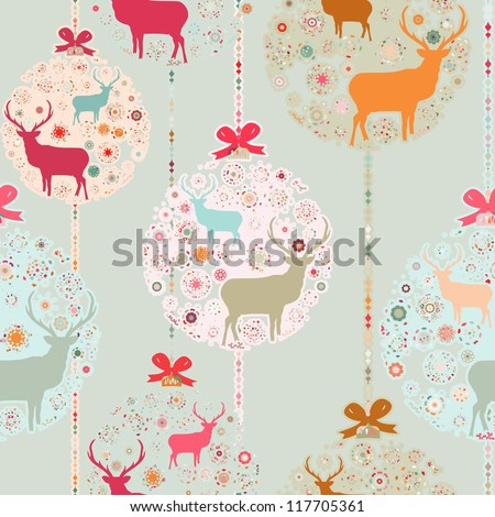 Colorful Christmas seamless pattern with balls , deer and snowflakes. And also includes EPS 8 vector - stock vector