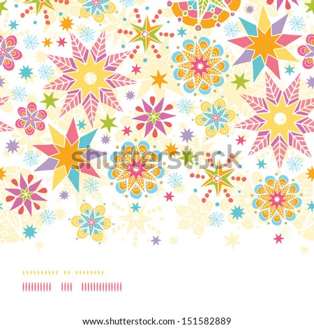 Colorful Christmas Stars Horizontal Seamless Pattern Background - stock vector