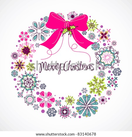 Colorful Christmas wreath made from snowflakes - stock vector