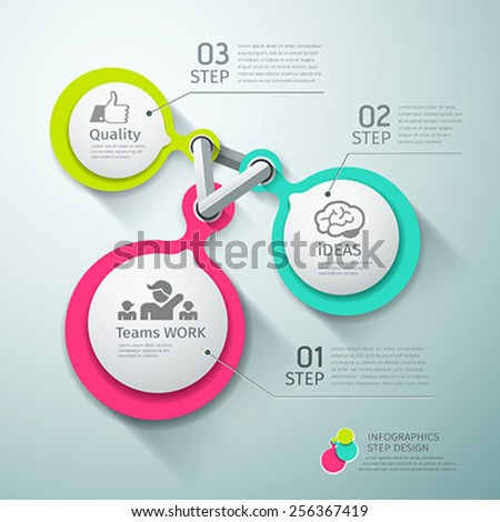 Colorful Circle connection step infographics background, vector illustrations - stock vector