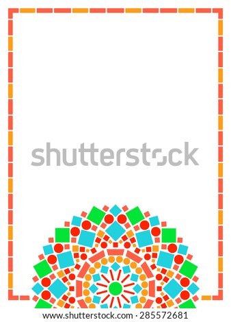 Colorful circle floral mandala frame background in green and orange on white, vector - stock vector