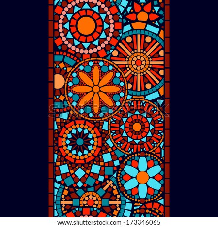 Colorful circle flower mandalas seamless border in blue red and orange, vector - stock vector