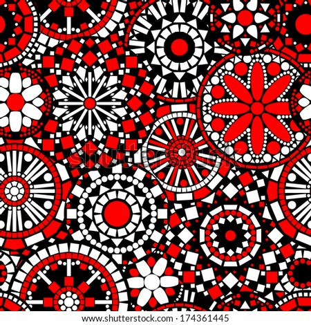 Colorful circle flower mandalas seamless pattern in black white and red, vector - stock vector
