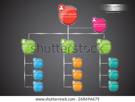 Colorful Circle Organization Chart Infographics, Abstract Black Background, Business Structure Concept, Business Flowchart Work Process, Vector Illustration. - stock vector
