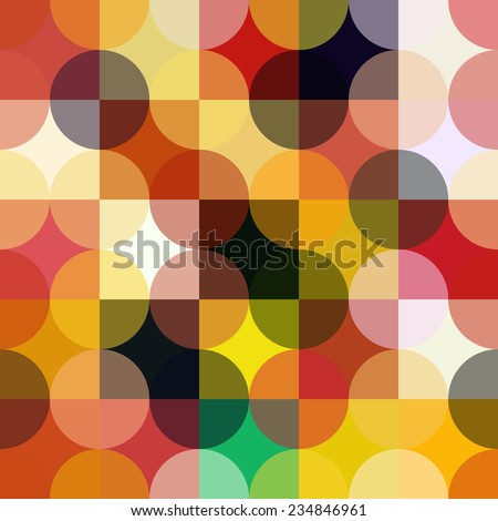 Colorful circle square geometric seamless pattern. - stock vector