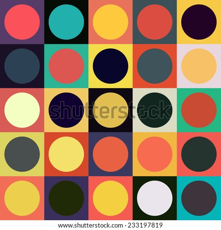 Colorful circle square geometric seamless pattern. Abstract background.