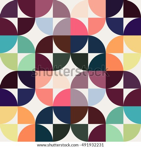 colorful circles and rounded squares seamless background, vintage geometric seamless pattern, creative background