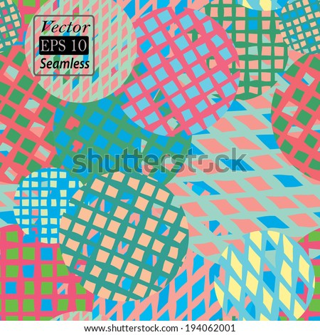 Colorful circles with grids in vector format. Seamless background.