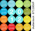 Colorful circular 2012 calendar - stock photo