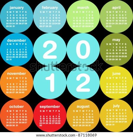 Colorful circular 2012 calendar - stock vector