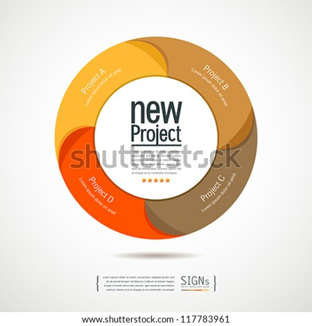 Colorful circular new projects design for business, vector illustration - stock vector