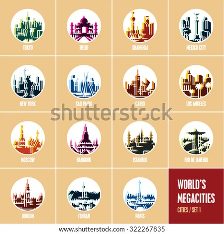 colorful city icons, modern flat style travel destinations icons, round icons - stock vector