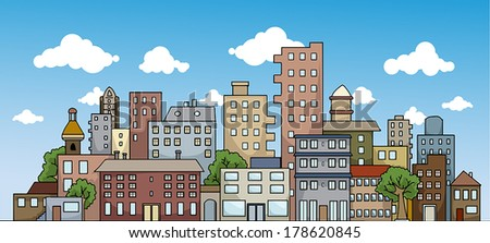 Colorful city landscape, vector illustration - stock vector