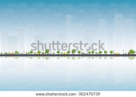 Colorful city panorama and place for text. Vector illustration - stock vector