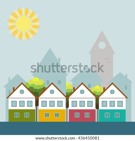 Colorful City, Real Estate, Healthy Living Concept