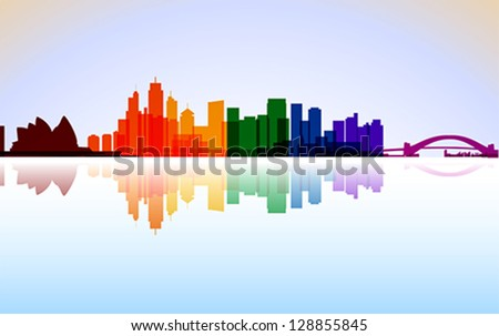 Colorful City Sydney panorama, vector - stock vector
