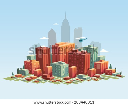 Colorful city. Vector illustration. - stock vector