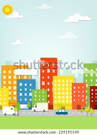 Colorful city witch road - stock vector