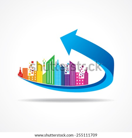 Colorful cityscape on business arrow stock vector  - stock vector
