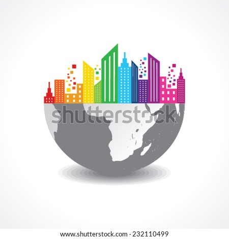 Colorful cityscape on half earth stock vector - stock vector