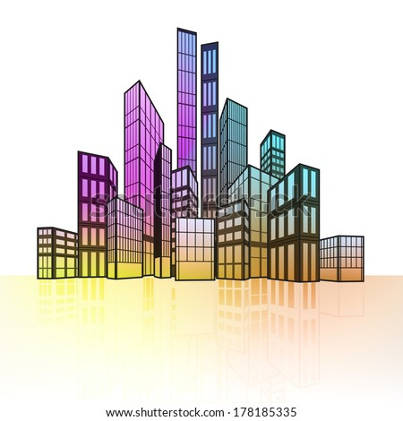 colorful cityscape silhouette with ground reflection vector illustration
